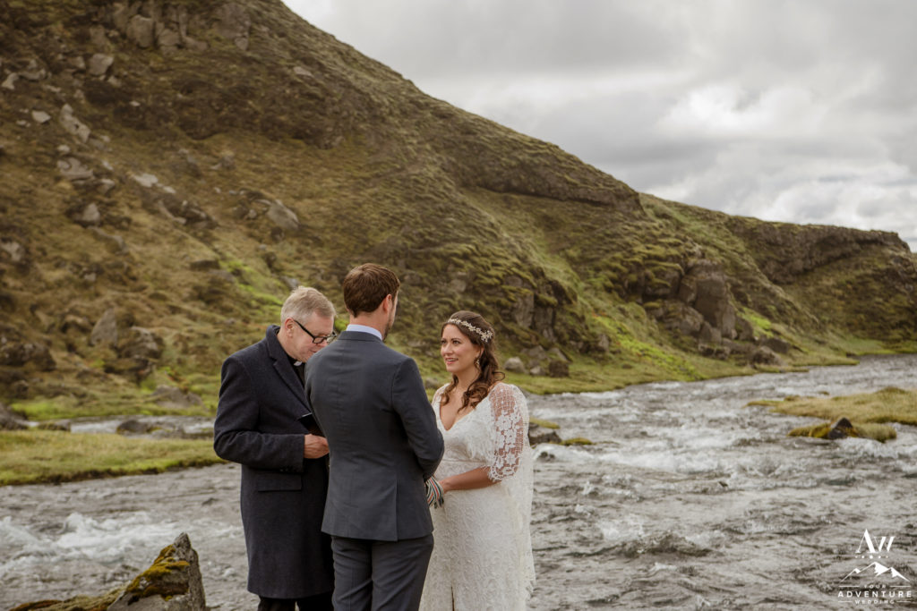 Iceland Wedding Ceremony in a canyon in the highlands