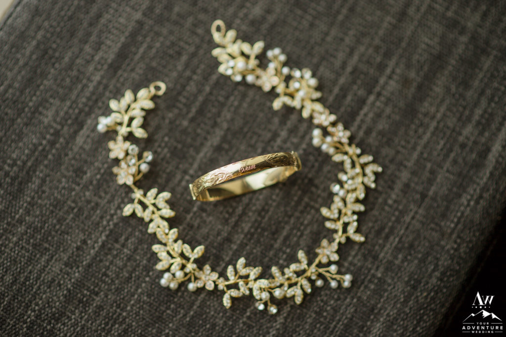Iceland Brides Elopement Details Gold Necklace and Bracelet