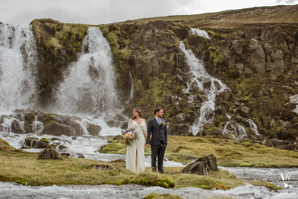 Adventure Wedding at a waterfall in Iceland