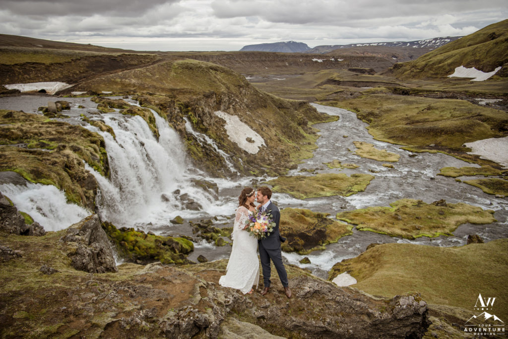 Iceland Highland Waterfall Wedding Photo