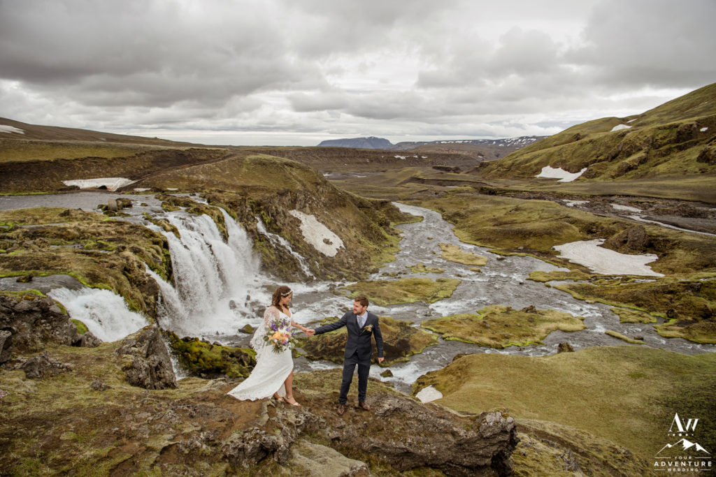 Iceland Wedding Couple Romantic Elopement by a Waterfall