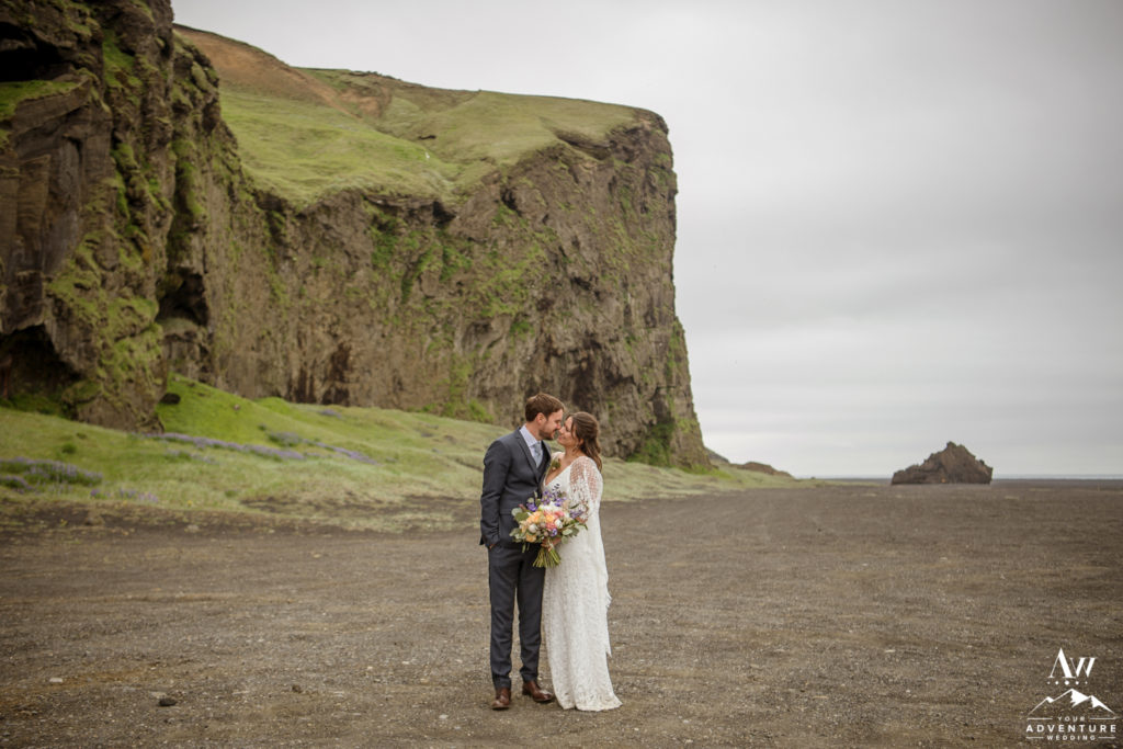 Iceland Wedding Couple with Cool shaped mountains behind