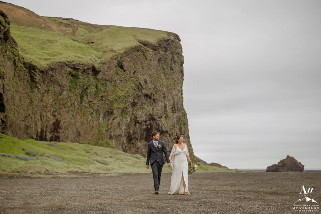 Iceland Adventure Wedding Couple Exploring a black desert