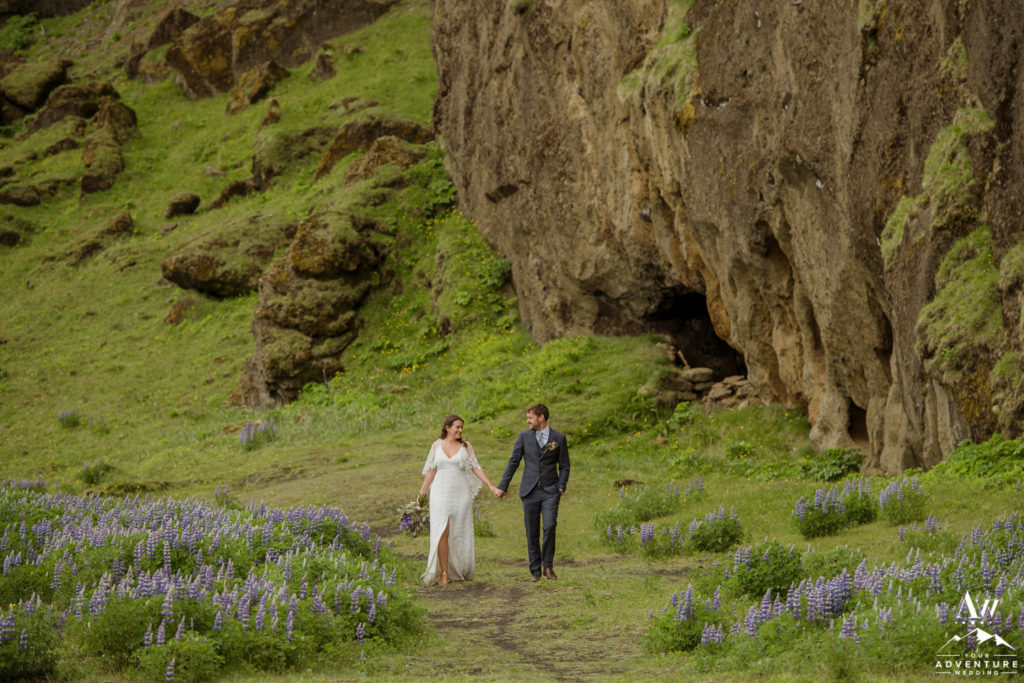 Purple Lupines in June for Iceland Wedding