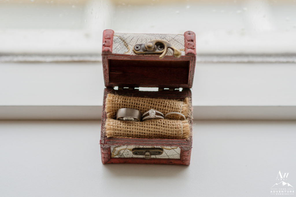 Iceland Wedding Rings in Travel Chest Box