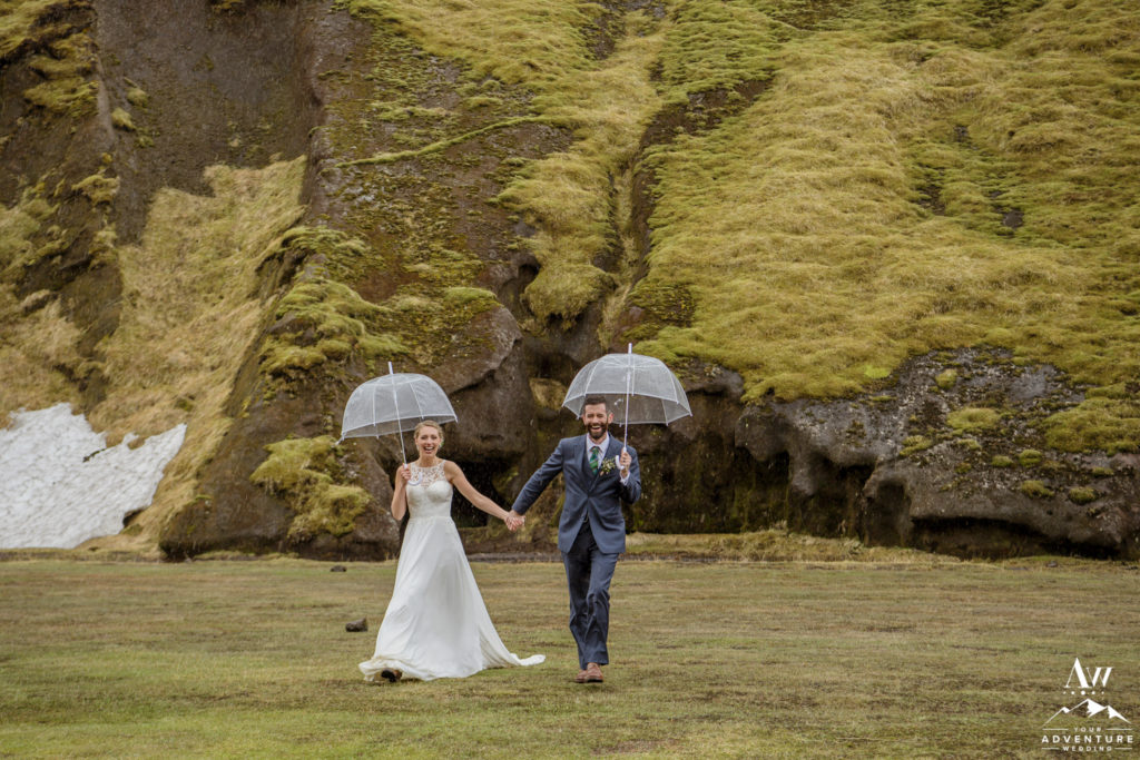 Iceland Wedding Couple with Clear Umbrellas