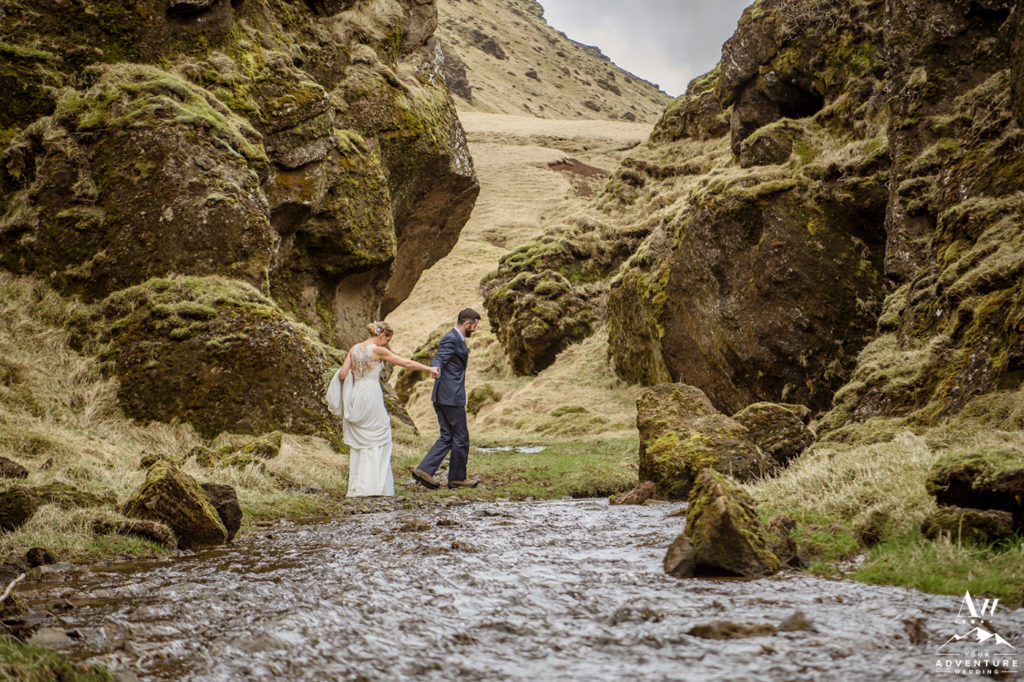 Iceland Wedding Couple Exploring during wedding day