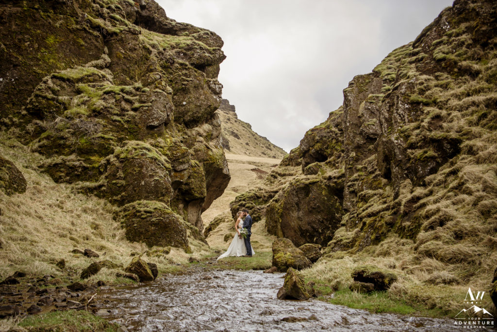 Iceland Adventure Couple Hiking in a Canyon