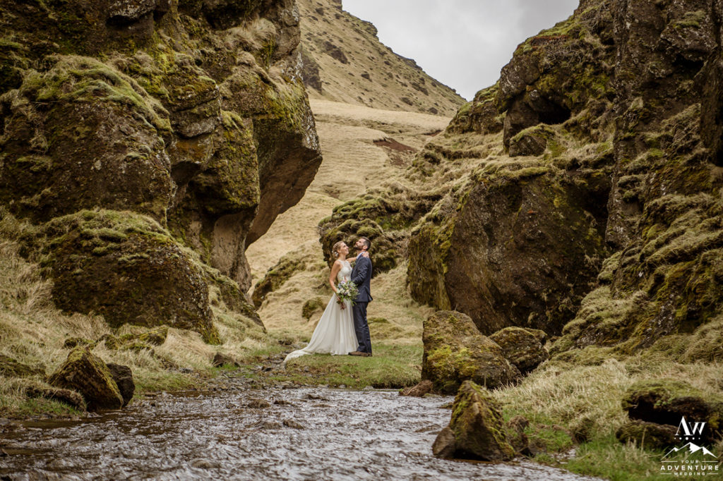 Iceland Wedding Couple Adventuring during wedding day