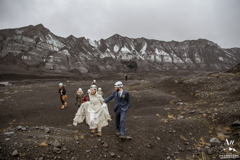 Iceland Wedding Couple Hiking from the glacier