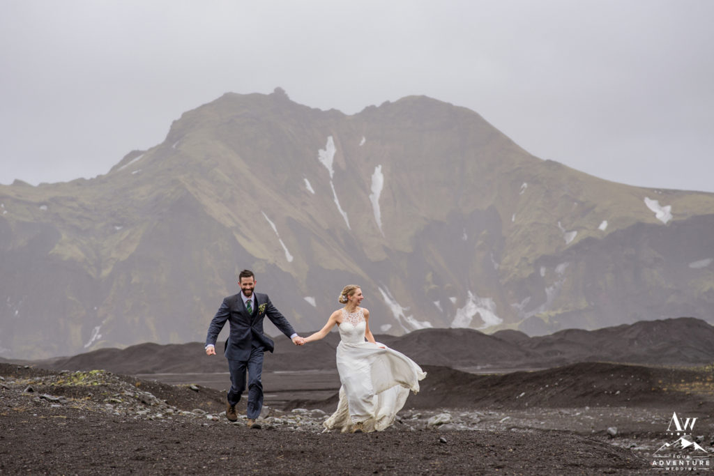 Jacalyn and Michael adventuring on their Iceland wedding day