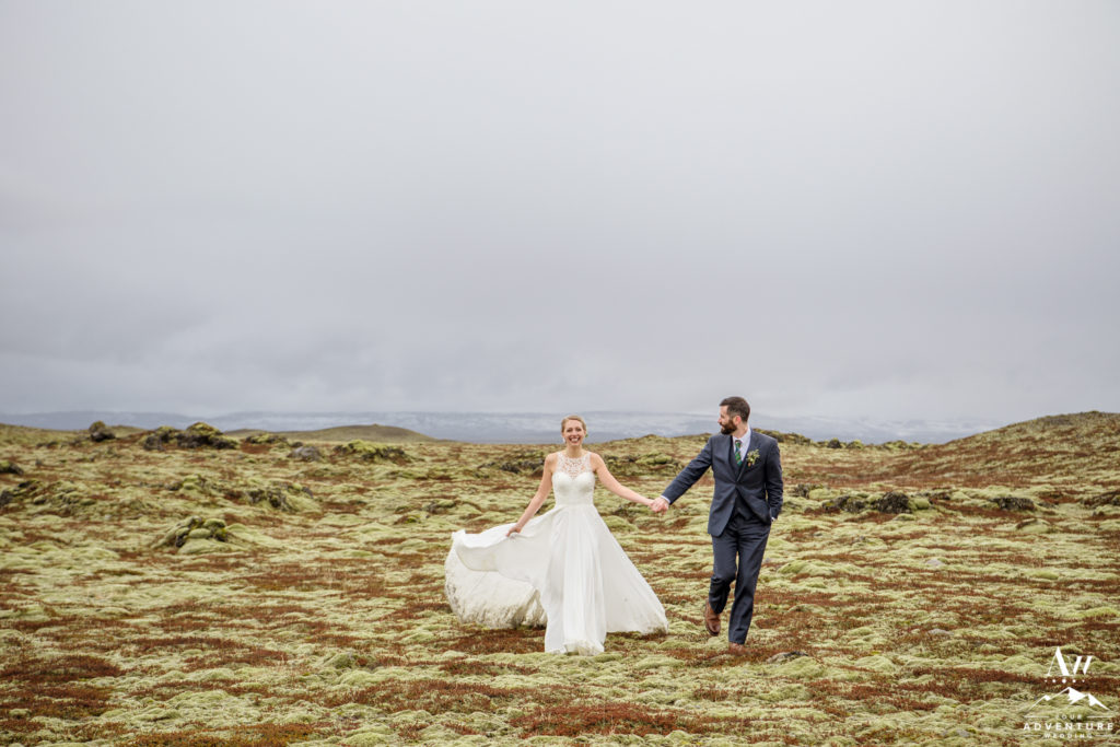 Adventurous couple having fun on their wedding day