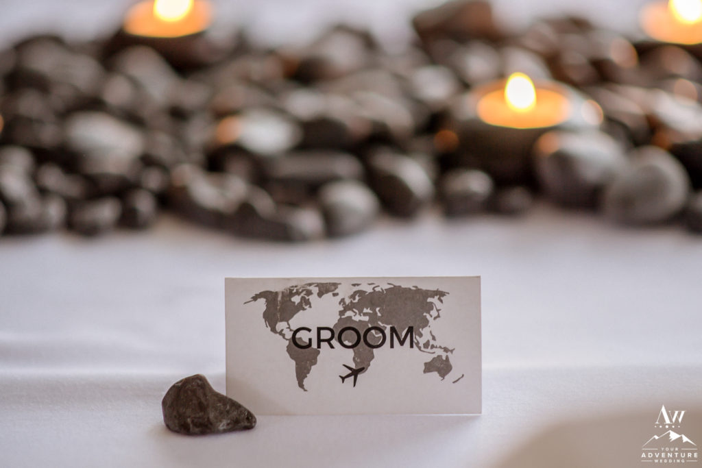 Groom World Map Place Card with Basalt Rocks