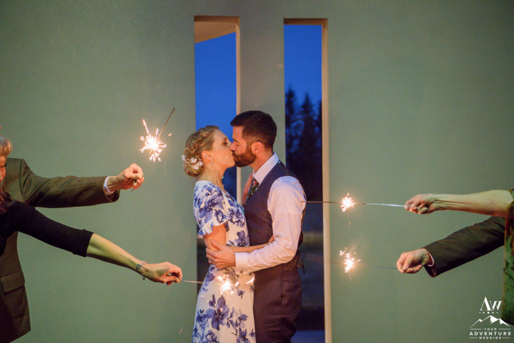 Sparklers during Iceland Wedding Reception