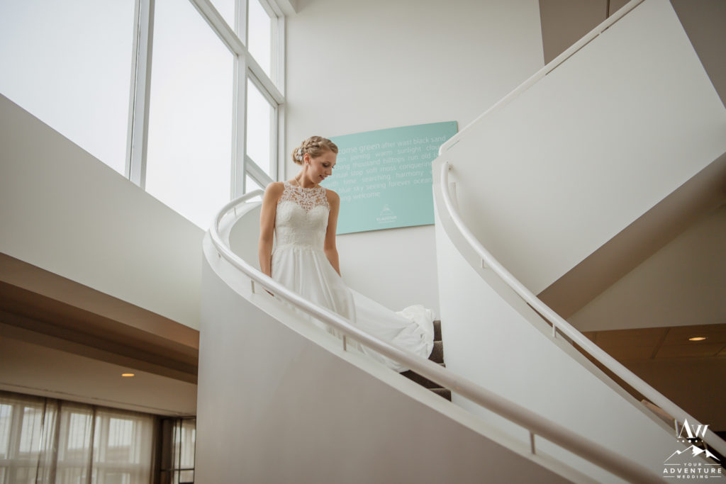 Iceland Wedding Bride Walking down stairs at Icelandair Klaustur