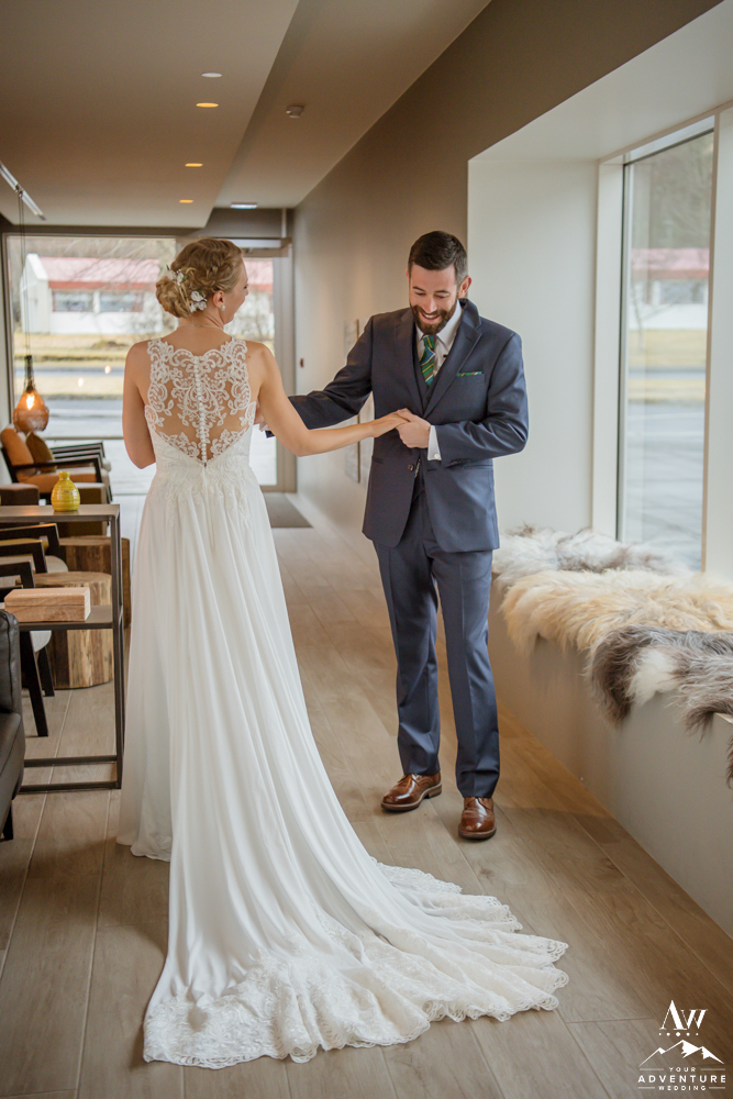 Iceland Wedding Couple Share an intimate first look