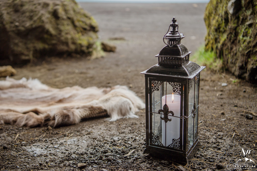 Ceremony Decor for Iceland Wedding Black Lanterns