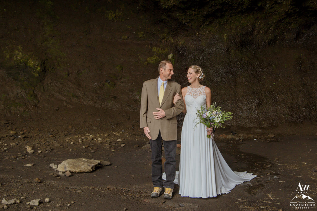 Iceland Wedding Bride walks down the aisle with her father