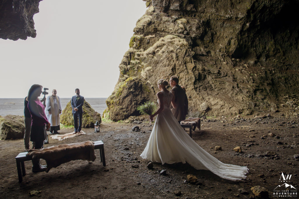 Winter Wedding in Iceland Cave Ceremony