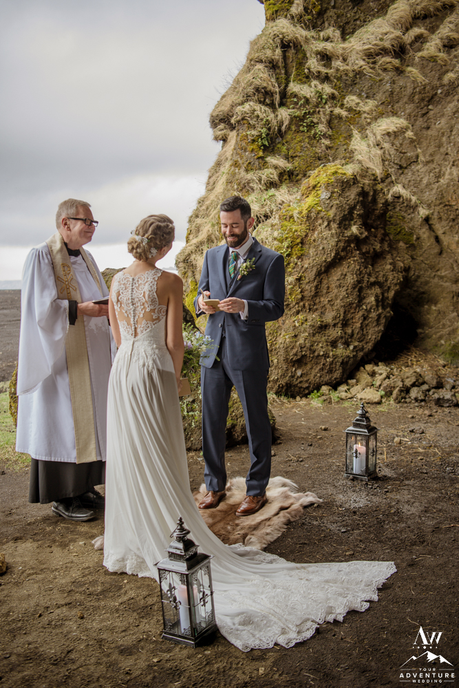 Groom Saying his vows during Iceland Cave wedding
