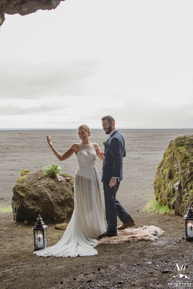 Iceland Wedding Couple Celebrating after Cave Ceremony