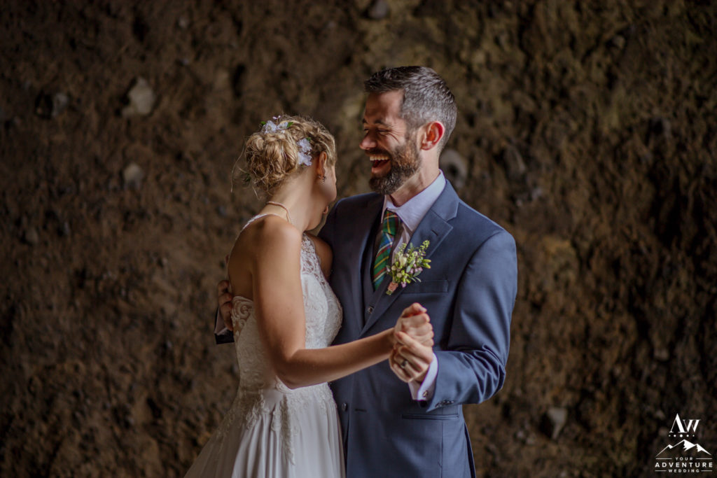 Jacalyn and Michael after their Iceland Cave Wedding Ceremony