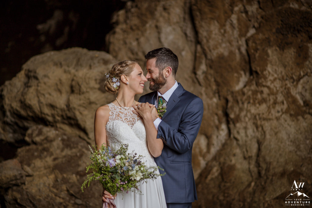Intimate Iceland Wedding Photos in a cave
