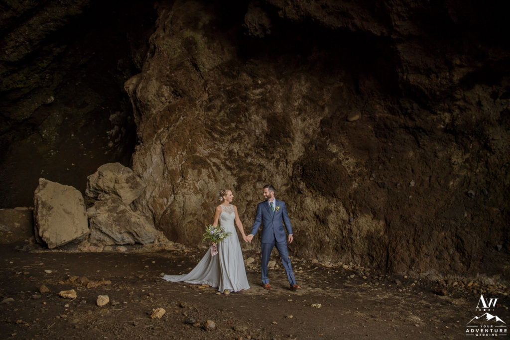 Iceland Wedding Couple walking in a cave in Southern Iceland