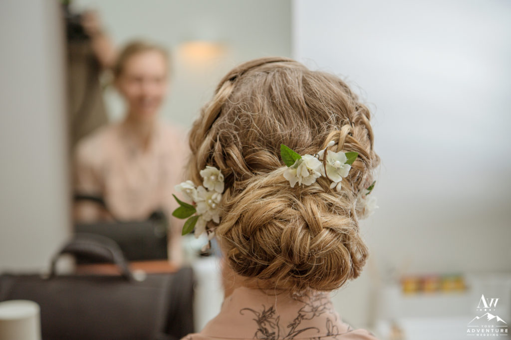 Updo Hair Bridestyle for Iceland Wedding
