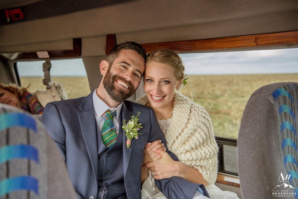 Jacalyn and Michael in Super Jeep during Iceland Wedding