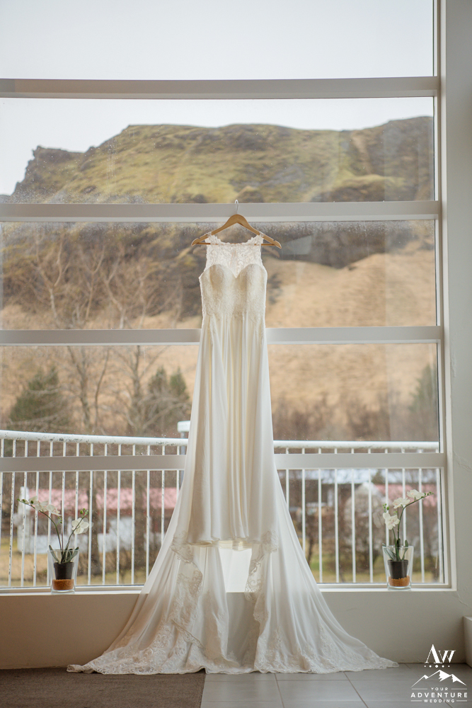 Iceland Wedding Dress hanging at Icelandair Klaustur