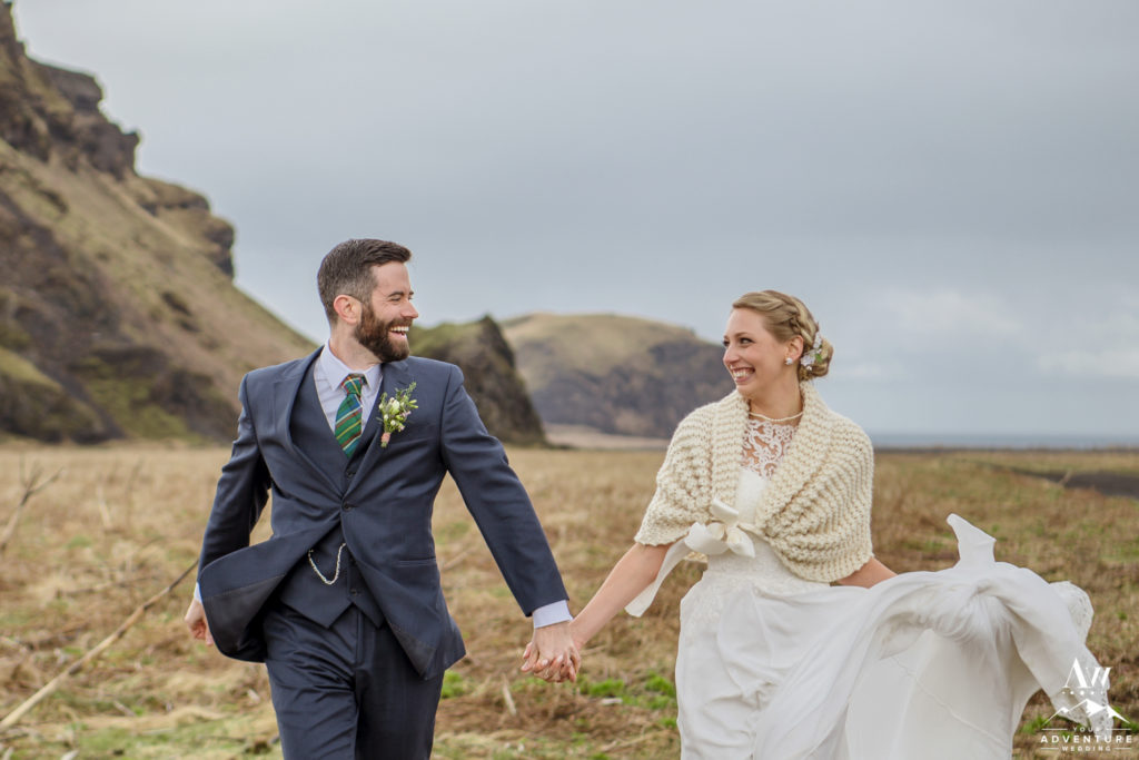 Iceland Wedding Couple smiling at each other
