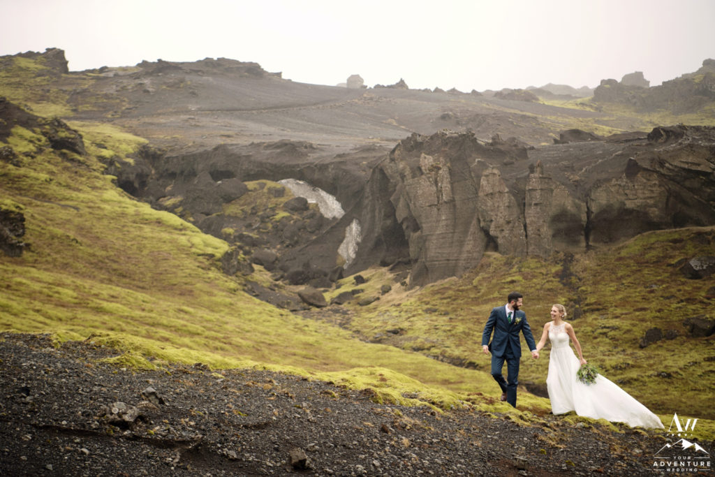Iceland Wedding Couple Hiking up a Mountain