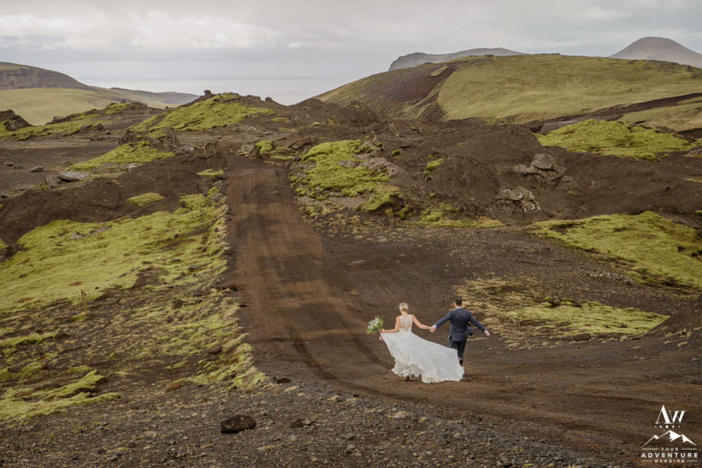 Iceland Wedding Couple running through Game of Thrones Area