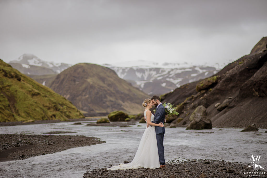 Iceland Wedding Couple inside of a Private Canyon