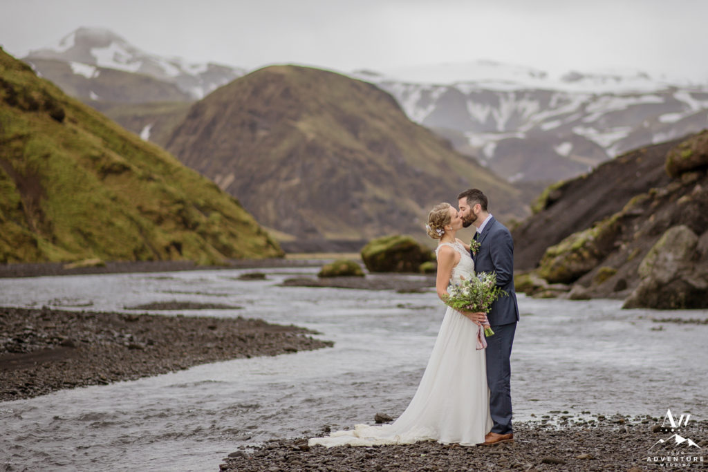 Iceland Wedding Couple Kissing inside of a Canyon