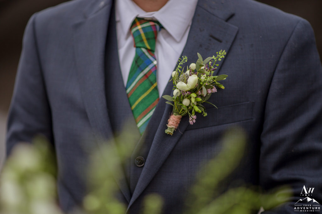 Buttonhole for Iceland Wedding Day Adventure