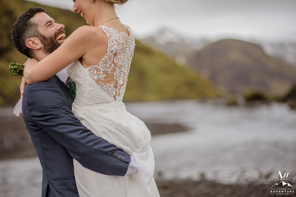 Bride and Groom Laughing during Iceland Adventure Wedding