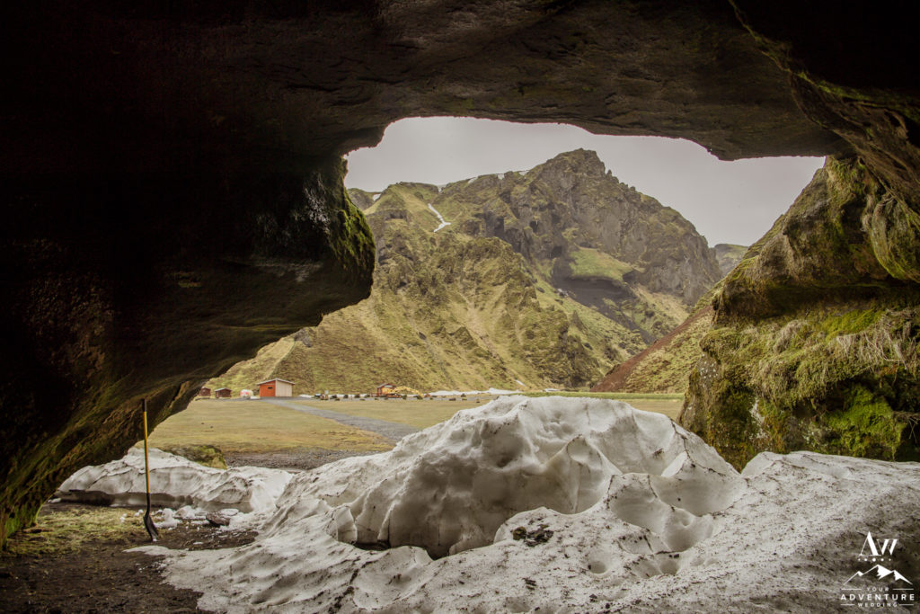 Iceland Cave Wedding Location in a canyon