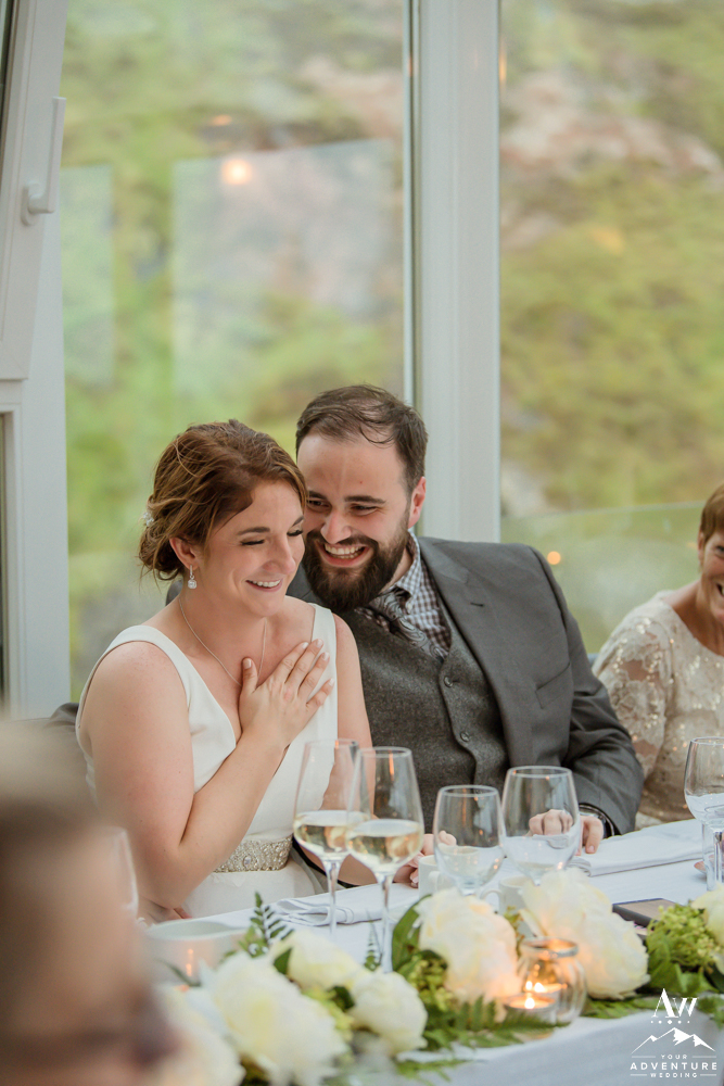 Iceland wedding couple laughing during reception