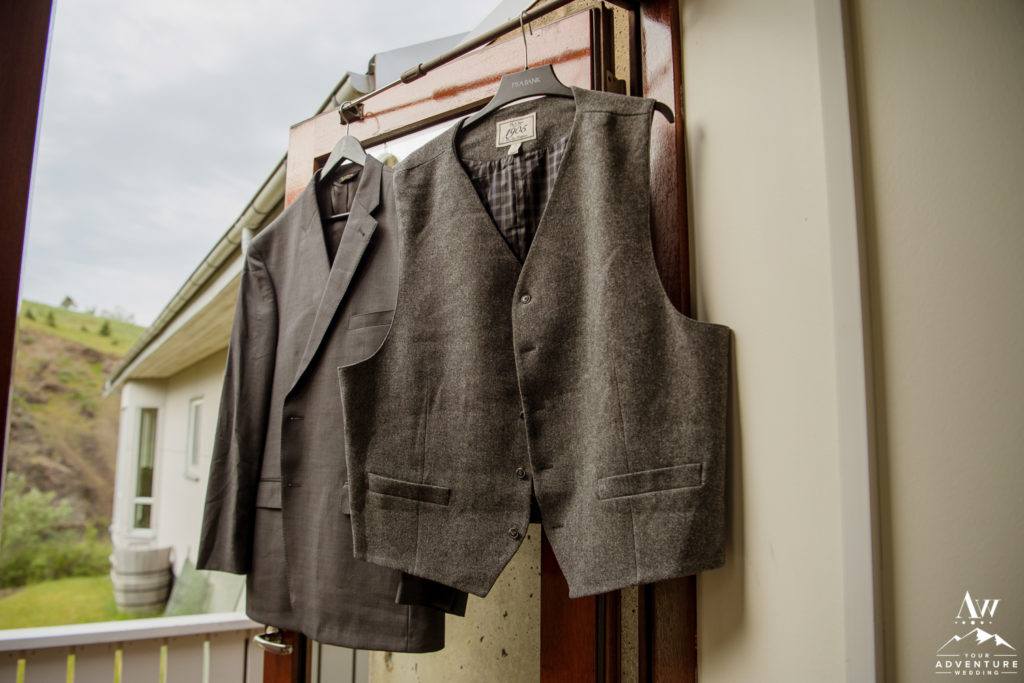 Groom Suit Hanging at Frost and Fire Guesthouse