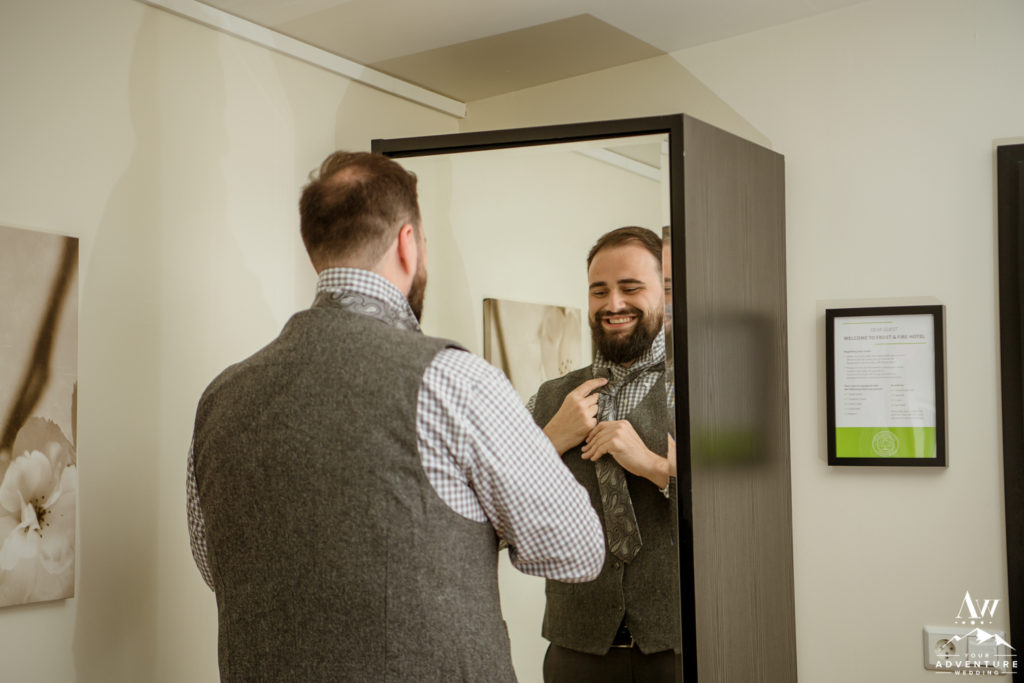 Groom getting ready on Iceland wedding day