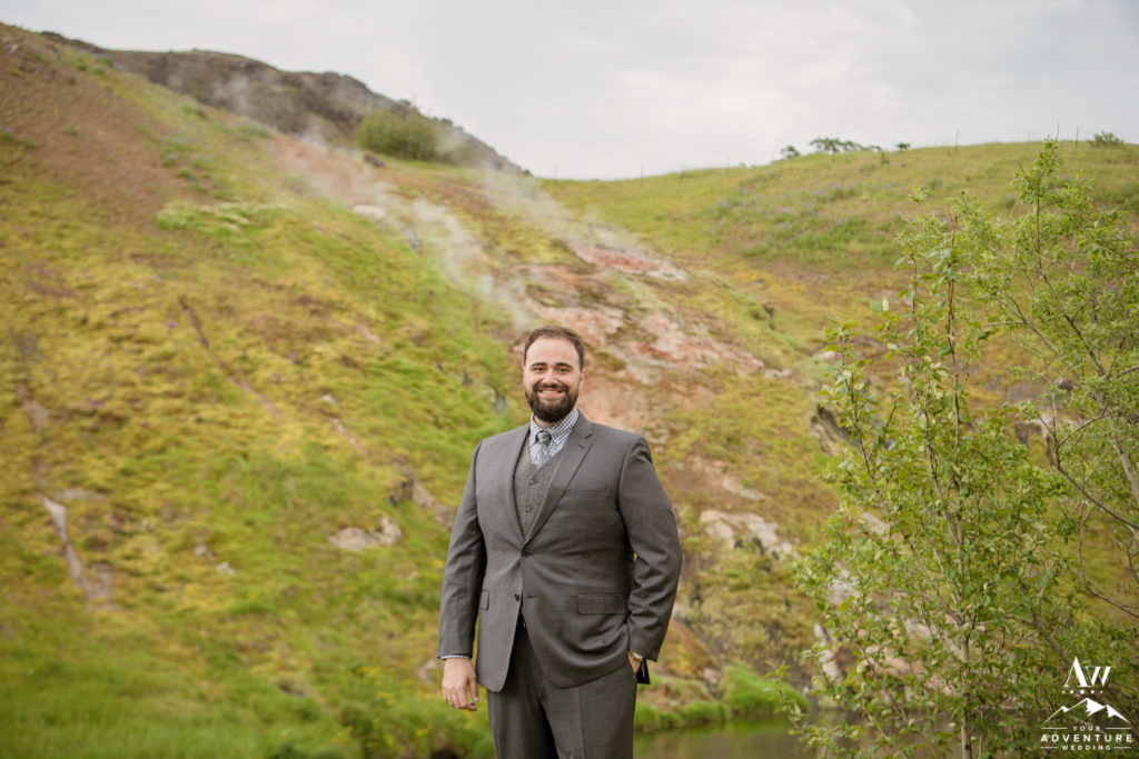 Iceland Wedding Groom outside of Frost and Fire