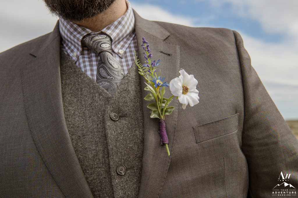 Groom Buttonhole for Iceland Adventure Wedding