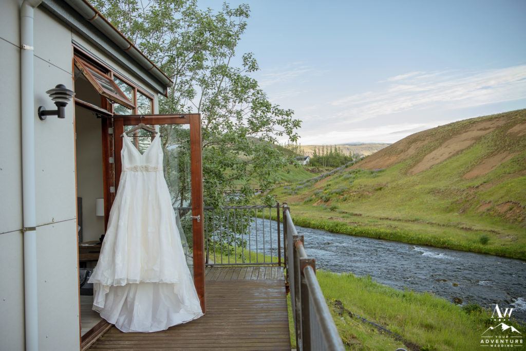 Brides Dress hanging at Frost and Fire Hotel