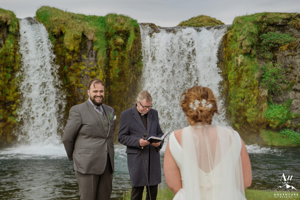 Groom seeing his bride during Iceland wedding ceremony