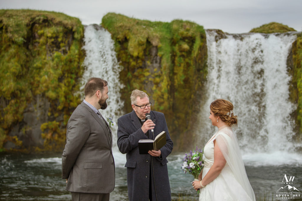 Icelandic Pastor performing ceremony at Private Waterfall