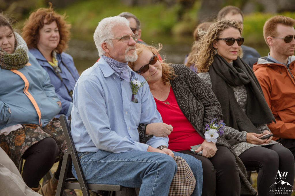Parents of the bride watch Iceland wedding ceremony