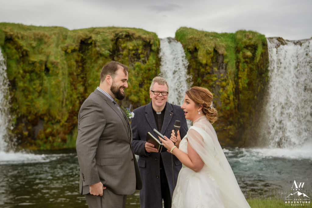 Bride saying her vows during Iceland wedding ceremony