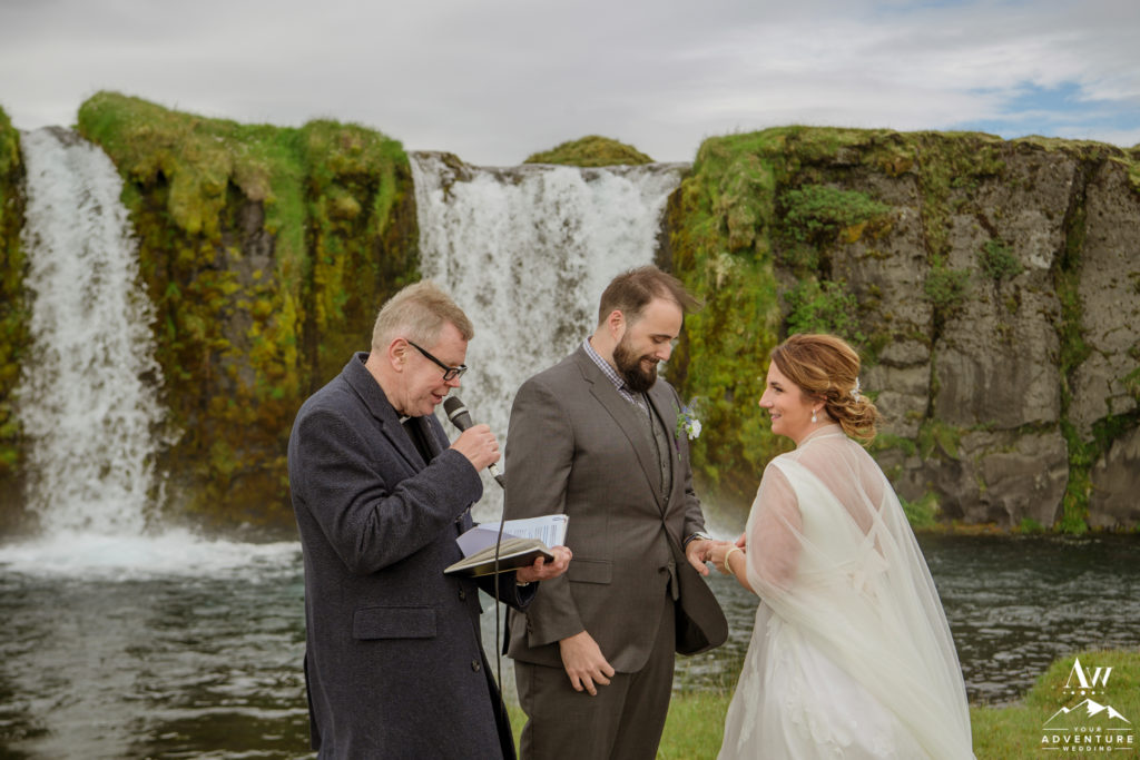 Iceland Wedding Couple Exchanging Rings